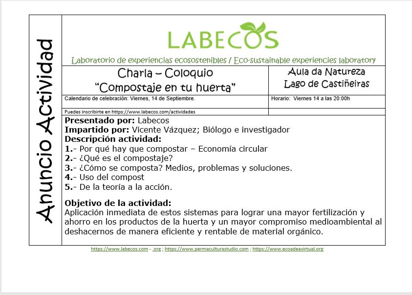 Actividad compostaje - Anuncio actividad Compostaje en tu huerta