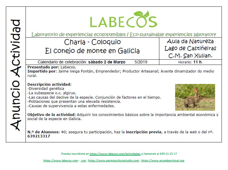 Anuncio Actividad Conejo Monte Galicia - Charla - coloquio, El conejo de monte en galicia