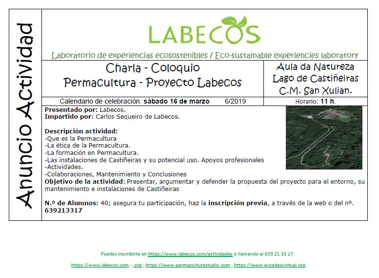 Anuncio Actividad Permacultura - Charla - Coloquio, Permacultura, Proyecto Labecos