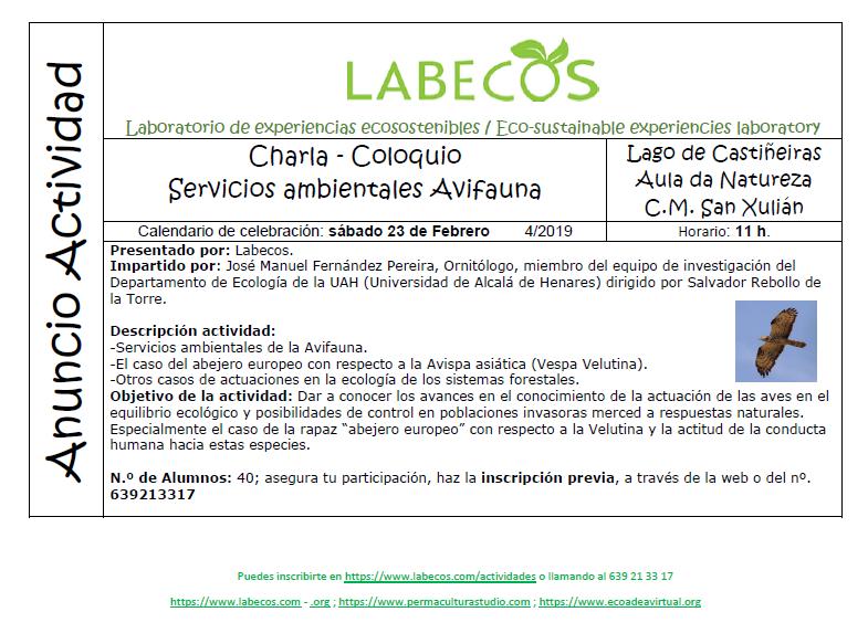 Anuncio actividad Velutina - Charla - Coloquio, Servicios ambientales avifauna