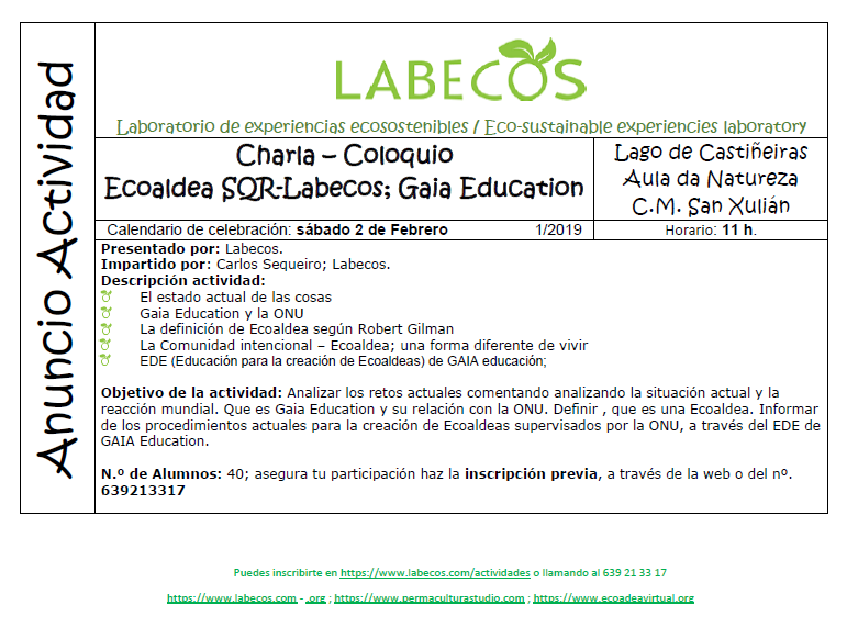 Creacion Ecoaldea - Charla - Coloquio; Creación de Ecoaldeas